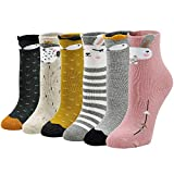 PUTUO Calcetines Invierno Niña Calcetines Térmicos Calientes, Calcetines Divertidos Niña Niños Calcetines de Algodón Calcetines de Animales, Navidad Calcetines Animales, 5-7 años, 6 pares