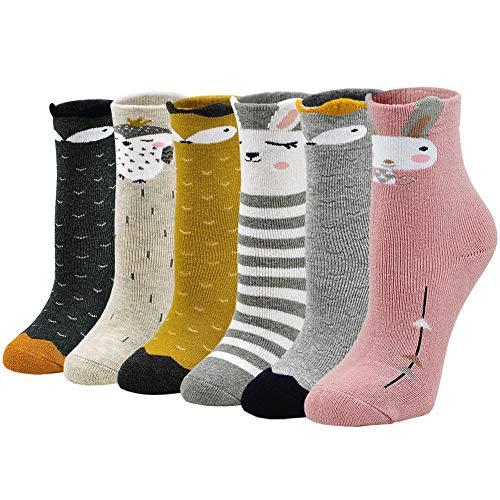 Dicke Socken Kinder Bunte Socken Baumwolle, warme Wintersocken Kinder Thermosocken Kleinkind Jungen Mädchen Lustige Socken Thermo Tier Socken, 5-7 Jahre, 6 Paare