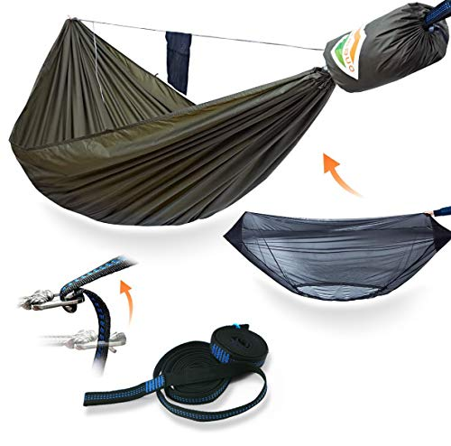 onewind 11' Double Camping Hammock Bug Net Bundle-Ridgeline, Lightweight Tree Straps,Ripstop Nylon Compact Strong- Holds 550lbs, Ideal for Bushcraft Survival, Adventure Explorer