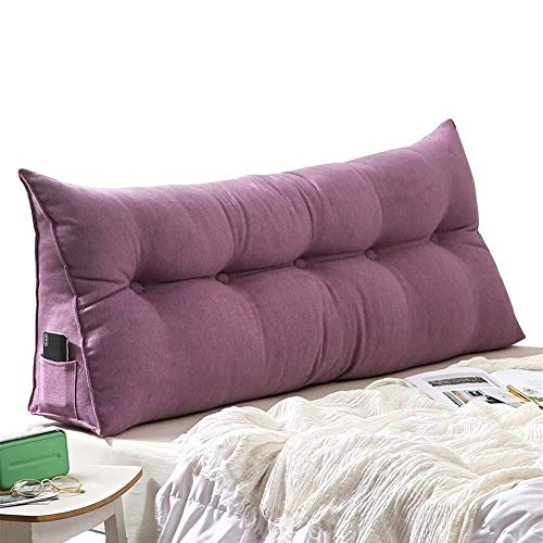 Fiber Zipper Design Bed Backrest Cushion Pads Headrest Soft Cover Support Reading Pillow Chemical Triangular Wedge Upholstered 0921 (Color : Purple, Size : 100x10x50cm)
