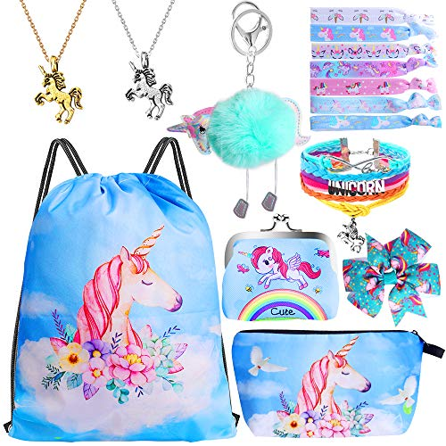 Standie 15PCS Drawstring Backpack for Unicorn Gift for Girls Include Makeup Bag Bracelet Necklace Set Hair Ties for Unicorn Party Favors (Blue)