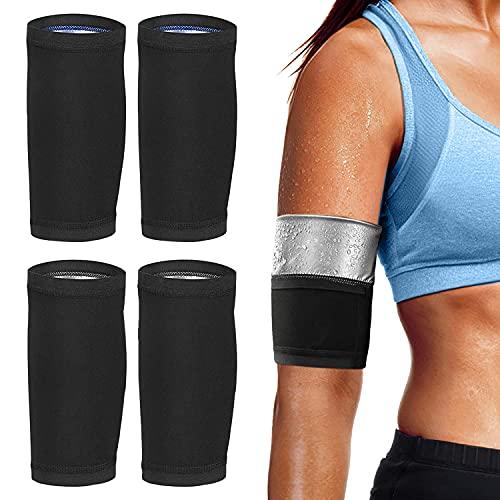 4 Stück Sauna-Arm-Shaper Arm Former Trimmer Slimming, Schweiß Arm Hülsen Band Schwitzgürtel Armbandage Armsleeve für Männer und Frauen Fitness