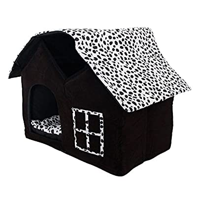 SKL Luxury High-End Double Pet House/Dog Room Cat Bed, Black