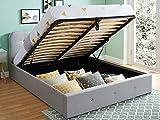 HOMIFAB Lit Coffre 140x190 cm Gris Clair avec tête de lit + sommier à Lattes - Collection Kate
