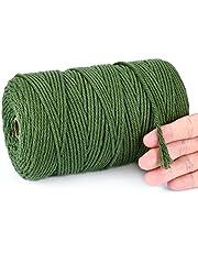 IZSUZEE Macramégaren groen 3 mm x 200 m, katoenen garen katoenen koord, macramégaren voor doe-het-zelf handwerk, breien, wandbehang, bloemenhanger, decoratie voor woonkamer, balkon, slaapkamer