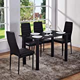 GOLDFAN Dining Table and 4 Chairs Rectangular Glass Kitchen Table and High Back Leather Chairs Dining Table Set,120 cm,Black