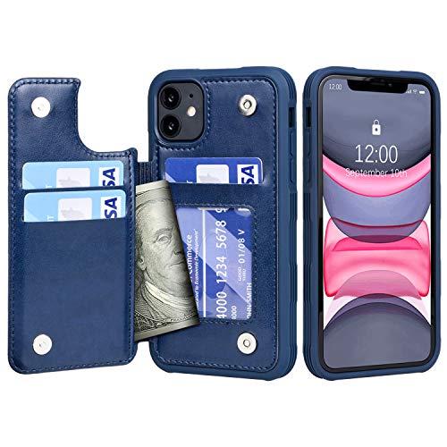 Migeec - Funda para iPhone 11 (piel, tarjetero, a prueba de golpes, con tarjetas), color azul