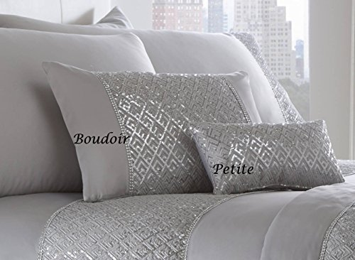 Cojín con diamante de lentejuelas y con relleno - Petit 18cm x 32cm - color plateado brillante, color gris
