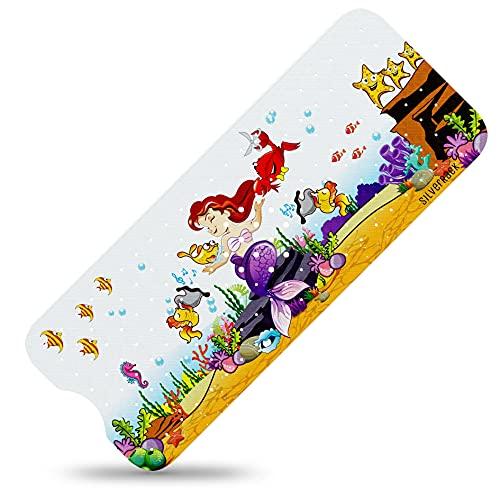 SilverRack Kinder Badewannenmatte DermaSensitivo Soft 100{1acbd3700fc3e3d8d31da1c820f40d458fcda015d4947fd24ef8d9815e596b08} BPA frei (Meerjungfrau - Links) - Badewanneneinlage rutschfest 100x40 cm für Kinder und Baby - Antirutschmatte Badewanne