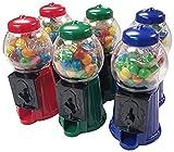6 COUNT Mini Gumball Machines 40 Gumballs Per Machine-Assorted Rainbow Colored Gumballs