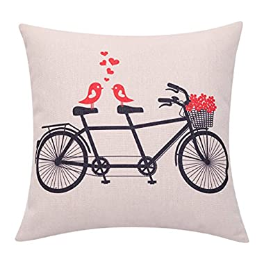 BreezyLife Valentines Day Throw Pillow Cover Love Birds with Flower Basket Decorative Pillow Case Spring Bicycle Cushion Cover for Sofa Couch Outdoor Home Decor Housewarming Gift 18 x 18 Inches