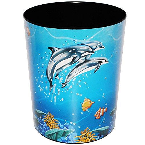 alles-meine.de GmbH Papierkorb / Behälter -  Delfine & Fische - Unterwasserwelt  - aus Kunststoff - Mülleimer / Eimer - Aufbewahrungsbox für Kinder / Büro - Mädchen & Jungen - ..