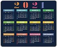 マウスパッド 2021 カレンダーマウスパッド ゲームマウスパッド 正方形 防水マウスパッド 滑り止めゴムベース オフィス/ホーム/ノートパソコン/旅行に 9.5インチ×7.9インチ×0.12インチ