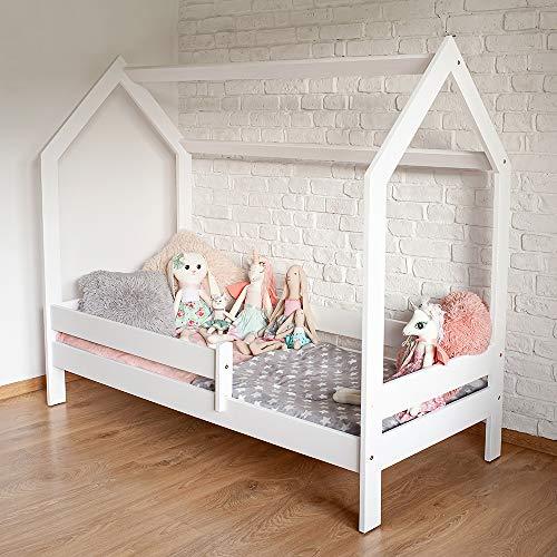 SWEETY Hausbett Kinderbett Jugendbett Massivholz 160x80 180x80 weiß Kiefer (weiß, 180x80)