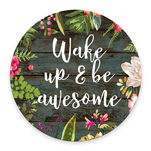 SSOIU Round Mouse Pad Custom, Wake up and be Awesome Inspirational Quotes Mouse pad Vintage Hand Drawn Floral Wreath Art on Rustic Wood White Quote