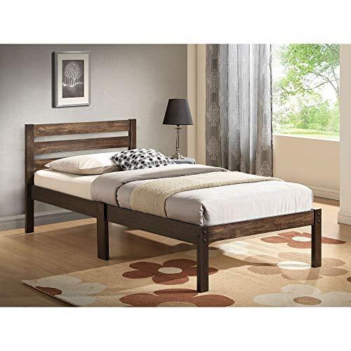 Knocbel Twin Bed Frame, Wood Platform Bed Mattress Foundation with Slats Supoort & Slatted Headboard (Ash Brown)