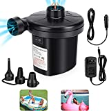 Air Pump, Electric Air Pump for Inflatables Air Mattress Pump with 3 Nozzles Inflator Deflator for Air beds Swimming Ring Inflatable Pool Toys 110V AC/12V DC (50W)
