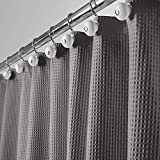 mDesign Hotel Quality Polyester/Cotton Blend Machine Washable Fabric Shower Curtain with Waffle Weave and Rust-Resistant...