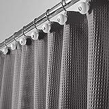 mDesign Cortina de Ducha de Lujo – Cortina de baño Suave con diseño de barquillo – Accesorio para Ducha de Cuidado fácil – Gris