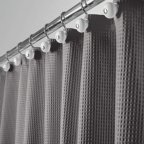 mDesign Luxus Duschvorhang – weicher Badewannenvorhang mit Waffelmuster – leicht zu pflegener Duschvorhang – Grau