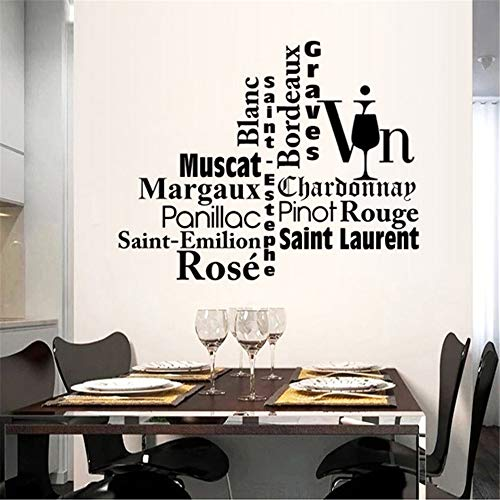 Wijn Frans spreuken restaurant keuken decoratie muursticker slaapkamer 38.1 x 30.5 cm