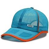 SELILALI Boné de beisebol masculino de malha para esportes ao ar livre, ajustável, 6 painéis, boné de malha, Azul claro, tamanho �nico