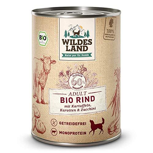 Wildes Land | Nassfutter für Hunde | Bio Rind | 12 x 400 g | Getreidefrei & Hypoallergen | Extra hoher Fleischanteil von 60% | 100% zertifizierte Bio-Zutaten | Beste Akzeptanz und Verträglichkeit