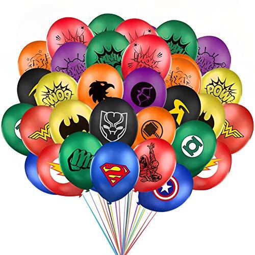 BAIBEI 36Pcs Globos Superheroes, Globos de Látex, Decoraciones de Fiesta Temáticas de Superhéroe
