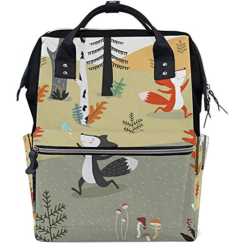 Bag Forest Animal Fox Travel Dad Baby Bags Diaper Backpack Zipper Large Capacity Multi-Function Casual Backpacks Mom Unisex 28X18X40Cm