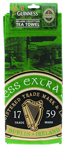 Green & Black Tea Towel with St. James Gate Print - Guinness Ireland Collection