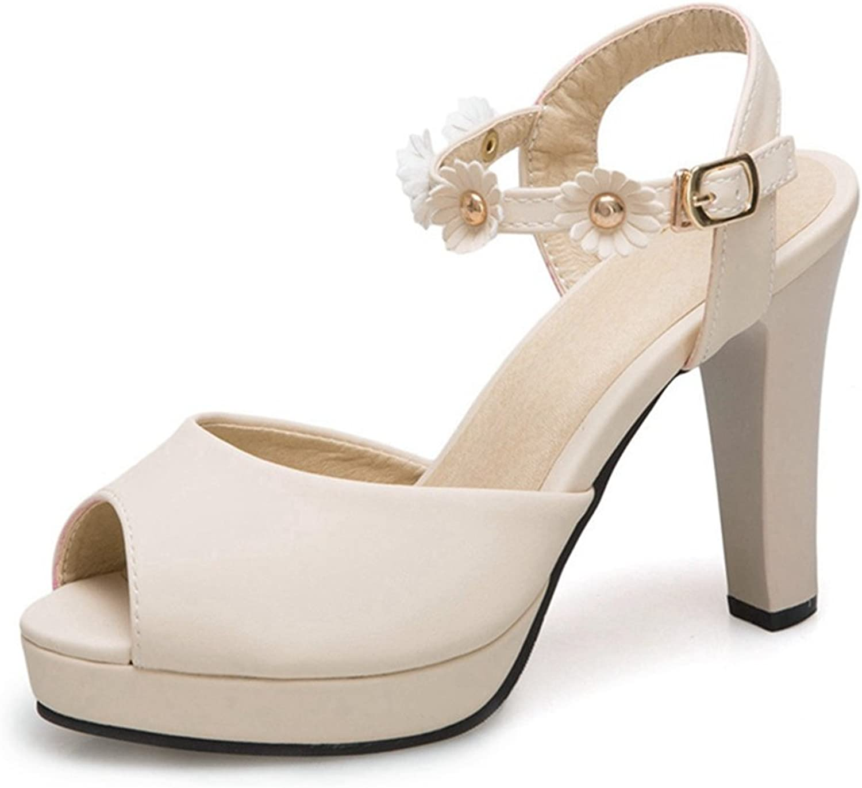 GIY Women's Peep Toe Platform Chunky Heel Flower Closed Back Buckle Strap Pump High Block Heeled Sandal