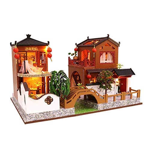 GBSELL DIY 3D Wooden Miniature Dollhouse Furniture Kit Sea Style Creative Room Decorate Decorations w/Furniture Accessories -for Toddler Girls and Kids Crafting Toy (B)