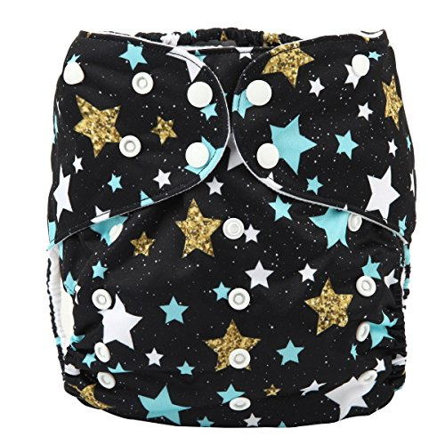 Sigzagor 2 to 7 years old Junior Big Cloth Diaper,Nappy,Pocket Reusable Washable,Baby Kids Toddler (Stars)