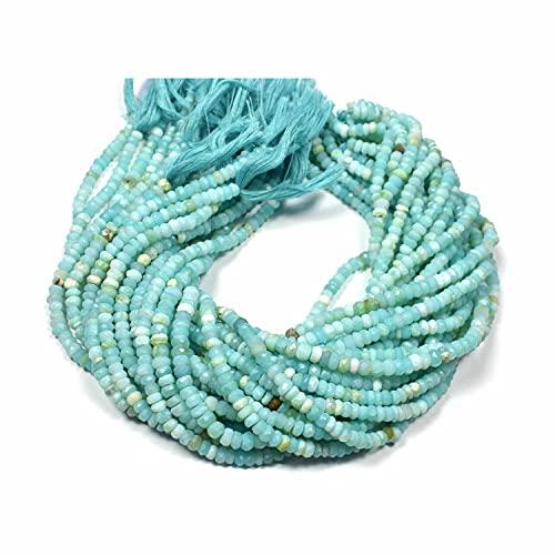 Crystallay 5-5.50 MM de Piedras Preciosas de Opal Azul Peruano Natural, Cuentas Sueltas de Rondelle facetado para Hacer Joyas, 1 hebra de 13' Pulgadas