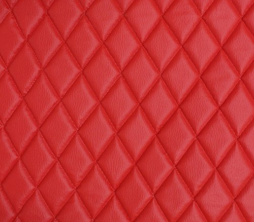 "Vinyl Grain Texture Quilted Foam Fabric 2"" x 3"" Diamond with 3/8"" Foam Backing Upholstery / 52"" Wide/Sold by The Yard/FABRIC EMPIRE (RED)"