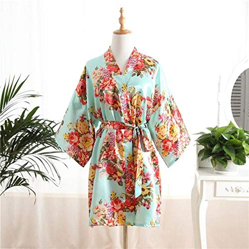 YRTHOR Kimono-Kleid, Bademantel, Viskose-Satin, für Braut, Brautjungfer, Hochzeit,...