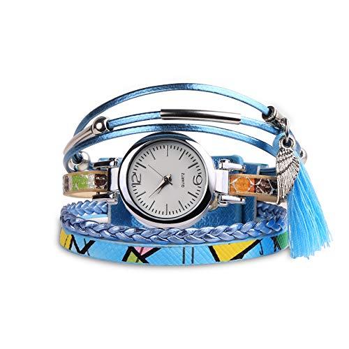 ETCBUYS Women Soft Leather Wristwatch - Lightweight, Stylish & Durable Tassels Casual Style Women Bracelet Watch - Precise Time Keeping Elegant Fashionable Wristwatch (Light Blue)