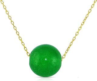 Vera Perla 10K Yellow Simple 10mm Green Jade Pendant Necklace, 40cm