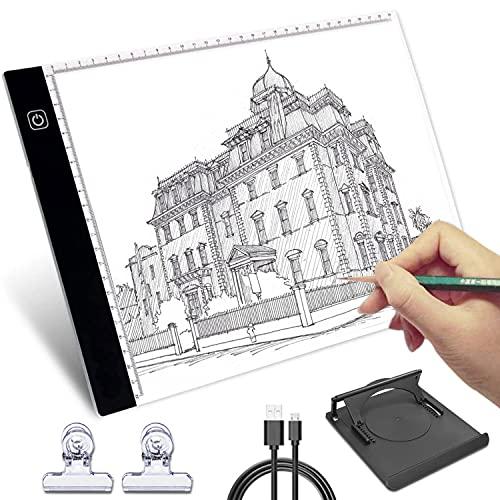 Mesa de luz para calcar, HNSHAG A4 LED Mesa de Luz Dibujo, Tablero de Trazado Brillo Ajustable, Light Pad para Artistas, Bocetos, Animación, Diseño, X-Ray