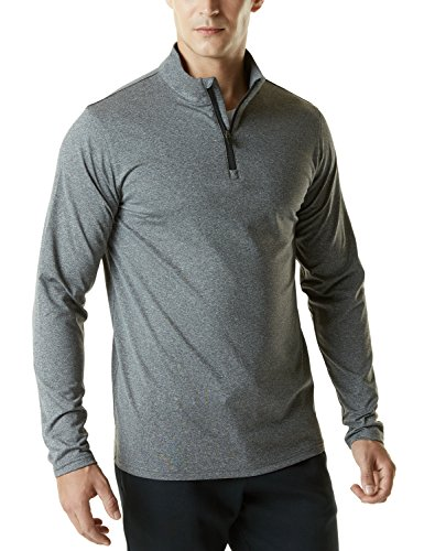 TSLA Men's Winterwear Sporty Slim Fit 1/4 Zip Fleece Lining Sweatshirt, Fleece Quarterzip(ykz01) - Heather Grey, Large