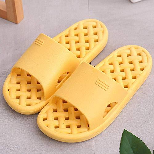 CCJW Indoor Outdoor Bath Sandal,Soft bottom massage sandals and slippers, couples home bathroom non-slip sandals and slippers-A-yellow_43-44,Low Wedge Slip On Toe Post Sandals kshu