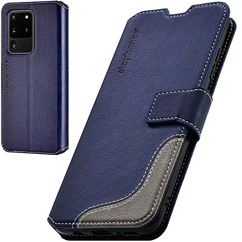 elephones Handyhülle für Samsung Galaxy S20 Ultra Hülle mit RFID-Schutz aus PU Leder Samsung Galaxy S20 Ultra Schutzhülle Flip Hülle Klapphülle Handytasche für Samsung S20 Ultra 5g Blau