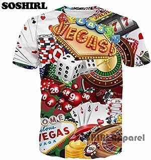 7 1 US M Poker T Shirt Funny Letter 3D T Shirt Men's Summer Tops US Size