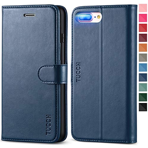 TUCCH iPhone 8 Plus Wallet Case, iPhone 7 Plus Case, PU Leather 3 Credit Card Holder and 1 Money Slot Case with Kickstand, Folio Flip Cover [TPU Interior Case] Compatible with iPhone 8 Plus Dark Blue