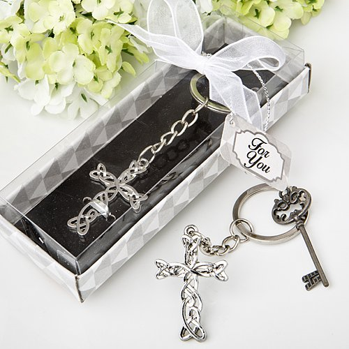 Delicate Intertwined Fancy Metal Cross Key Chain Favors, 48