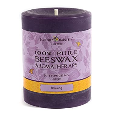 Bluecorn Beeswax 100% Pure Beeswax Aromatherapy Pillar Candles (Relaxing - Purple: Lavender, 3x4)