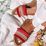 LYYJF Sandalias de Mujer Cuñas Pantuflas Sandalias de Mujer Sandalias de Verano Sandalias de Punta Abierta para Mujer Zapatos de Plataforma con Chanclas,Rojo,42