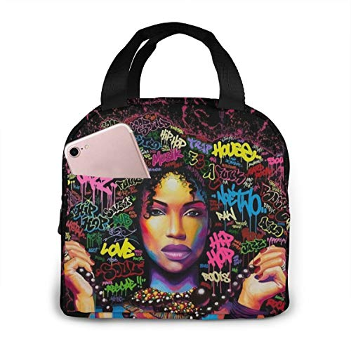 Matthzhang Lunch Bag Black Art African American Afro Girl Insulated Lunch Tote Boxes Cooler Bag For Adults Men Women Kids Boys Nurses Teens