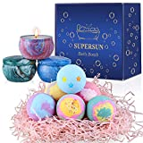 SUPERSUN Bath Bombs Scented Candles Set for Women Gifts , 6 x 3.5oz Fizzies Bath Women Gifts, Rich Bubble, Pure Essential Oils, Gift Ideas for Her