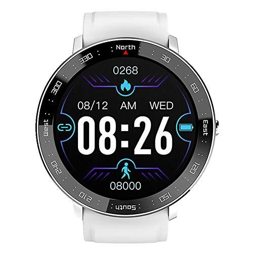 Reloj Deportivo Inteligente para Hombres y Mujeres rastreadores de Ejercicios Reloj de Pulsera Bluetooth Resistente al Agua con Contador de calorías por Pasos Monitor de sueño cronómetro (White)